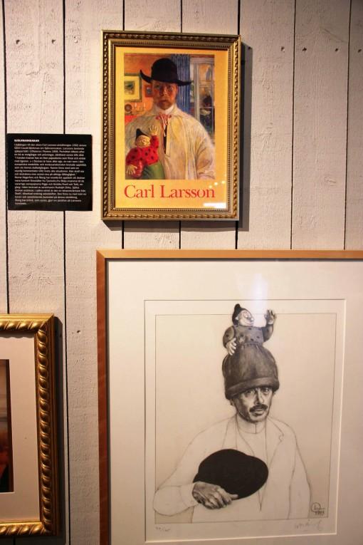 Visste du att Carl Larsson hade en seriefigur med i ett självporträtt? Åbergs pastisch på det syns under.